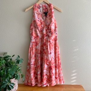 WHBM Beautiful Pink Floral A-Line Dress